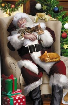 """Santa Cat Nap"" by Thomas Wood Christmas Scenes, Christmas Animals, Father Christmas, Santa Christmas, Christmas Pictures, Winter Christmas, Xmas, Christmas Sketch, Vector Christmas"