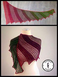 Lizard - free crochet shawl pattern in German with charts by Jasmin Räsänen / Jojassuomi.