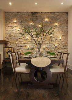 Elegant Dining Room Idea - The brick wall can easily be substituted with a beige-painted wall and made safe with inexpensive flameless candles.
