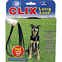 long line by Clix - excellent for Recall training, is soft on the hands, and won't snag easily on ground cover.