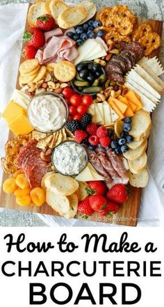 Learn how to make a Charcuterie board for a simple no-fuss party snack! Learn h. Learn how to make a Charcuterie board for a simple no-fuss party snack! Learn how to make a Charcuterie board for a simple no-fuss party snack! Charcuterie Recipes, Charcuterie And Cheese Board, Charcuterie Platter, Cheese Boards, Antipasto Platter, Crudite Platter Ideas, Cheese Board Display, Charcuterie Display, Tapas