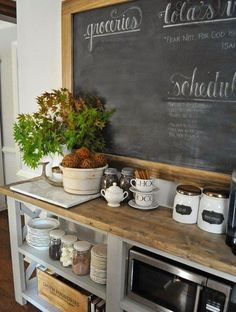 Rustikale Art Küche Kaffee Bar Tafel offenen Schrank