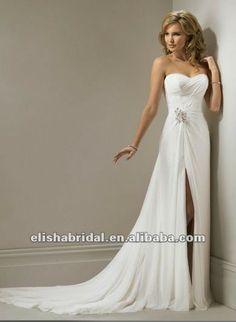 lindo vestido de noiva com fenda frente