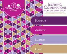 Shades of Purple Color Combination - Eggplant, Amethyst, Lavender, Camel { Brown, Gold } Purple Color Combinations, Colour Schemes, Purple Colour Shades, Eggplant Color, Web Design, Colour Pallette, Color Harmony, Color Blending, Color Swatches
