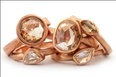 Natural free form diamonds mounted in rose gold rings by GALACIA DESIGNER JEWELRY.