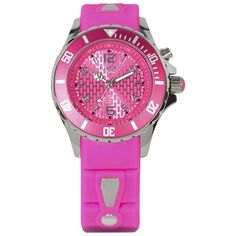 KYBOE! Power Pink Silicone & Stainless Steel Strap Watch/40mm ($200) ❤ liked on Polyvore featuring jewelry, watches, apparel & accessories, jazzy pink, bezel jewelry, pink wrist watch, pink face watches, silicone wrist watch and pink watches