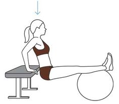 My Yoga Ball Workout. Move 1: Triceps Dip, one set of 15.
