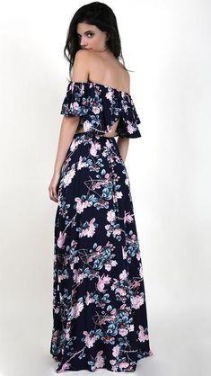 Floral Off Shoulder Crop Top With Maxi Skirt Set