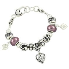 Mom Heart Charm Bracelet Z12 Pearl Purple Murano Beads Silver Tone *** You can get more details by clicking on the image. (This is an affiliate link) #CharmsandCharmbracelets