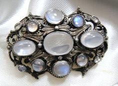 Austro Hungarian Victorian Moonstone Brooch Pin Silver Antique | eBay