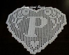 pattern crochet doily  monogram heart letter M
