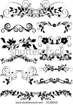 Free Decorative Floral Elements for Design Vector Set Art Design, Vector Design, Design Elements, Vector Art, Floral Design, Stencils, Lower Back Tattoos, Blackwork, Embroidery Patterns