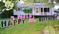Paula received a Yard Card greeting for her birthday! Birthday Yard Signs, 50th Birthday, Birthday Cakes, Birthday Parties, Lawn Sign, Wedding Dj, Host A Party, Corporate Events, Special Day