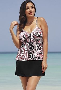 1f6b4a4d9a826 Skirtinis - Shore Club Mauve Tie-Front Slit Skirtini Plus Size Tankini