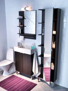 Bathroom interior design bathroom design decorating before and after interior Upstairs Bathrooms, Basement Bathroom, Small Bathroom, Modern Bathroom Design, Bathroom Interior Design, Bathroom Designs, Ikea Lillangen, Bathroom Decor Pictures, Ikea Mirror