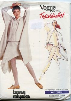 Issey Miyake Pants and Asymetrical Top & Skirt Pattern Vogue 2128 Individualist Womens Sewing Patterns 31 32 33 34 Bust, Size 8 10 12 UNCuT