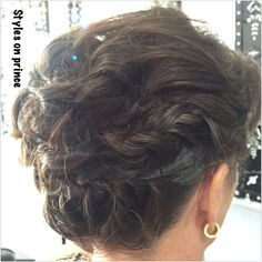 Up style short hair nape braid then loosely curled and pinned