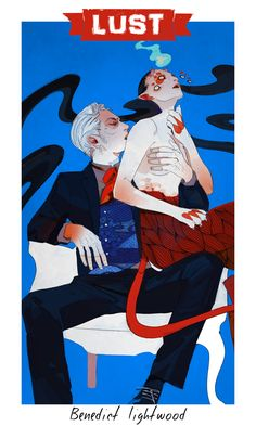 Benedict Lightwood, looking mighty creepy, embodying the vice of Lust with a demon lady /  Vices & Virtues by Cassandra Jean