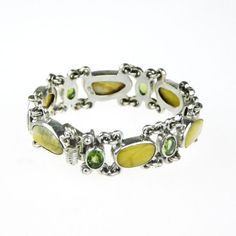 Silver Narrow Bracelet With Amber & Peridot  - product images  of SCHJ www.silverchamber.co.uk