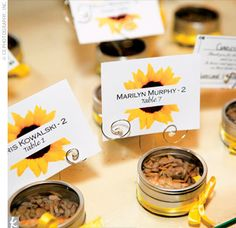Sunflower seeds wedding favors idea