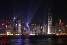 The amazing nightime skyline of Hong Kong.