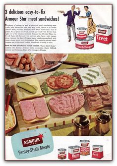 """3 Delicsious Easy-to-Fix Armour Star Meat Sandwiches! incl """"Armour Lunch Tongue"""", """"Armour Treet"""", and """"Armour Deviled Ham"""" Retro Recipes, Old Recipes, Vintage Recipes, Gross Food, Weird Food, Crazy Food, Retro Ads, Vintage Ads, Vintage Food"""