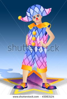 clown in a suit and cap with a decorative pattern from rhombuses on a blue background with star
