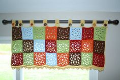 Crochet Granny Square Curtain Pattern. by HappinessAndYarn on Etsy