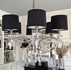 DIY Crystal Chandelier - under $ 30. EASY!! See: South Shore Decorating Blog: How to Make A Crystal Chandelier (a.k.a. I Think My Cleaning Lady Thinks I'm Nuts)