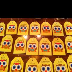 Owl Party favor name tags!