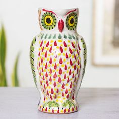 Majolica Owl Ceramic Pitcher Pinned by www.myowlbarn.com