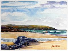 """"""" Good on the push!"""" Surfers on a  beach watercolour painting by Steve PP."""