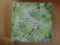 A green mixed media painting