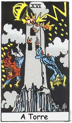 The Tower Major Arcana Tarot card. The Tarot Tower card meaning in a nutshell: A spectacular ambition that ends with disaster. Major Arcana Cards, Tarot Major Arcana, Tarot Astrologico, Star Tarot, The Tower Tarot Card, The Tower Tarot Meaning, Tarot Rider Waite, Tarot Waite, Free Tarot