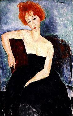 Jeune #rousse en robe de soirée #modigliani #femme #Portrait #montableau