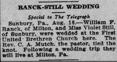 Genealogical Gems: Wedding Wednesday: Still weds Ranck in Sunbury