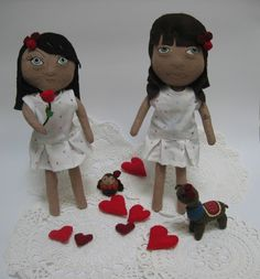 Lil Pip, lil Cat, owl and alpaca getting into Valentines mode http://reginald.com.au/2014/02/12/be-my-valentine/