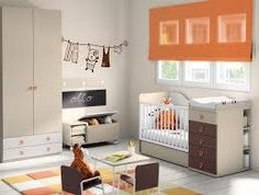 unisex baby rooms -loving the burst of orange in this room
