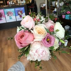 Beautiful Pink Peonies & Garden Roses Peonies Garden, Garden Roses, Blooms Florist, Pink Peonies, Wedding Bouquets, Our Wedding, Floral Wreath, Weddings, Photo And Video