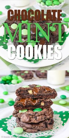 These easy Chocolate Mint Cookies are loaded with three kinds of mint goodness. Such a great treat to fill the cookie jar with. Easy Holiday Cookies, Easy No Bake Cookies, Chocolate No Bake Cookies, Chocolate Recipes, Baking Cookies, Chocolate Treats, Cake Cookies, Chocolate Ganache, Baking Chocolate