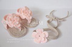 Sandalias de bebé del ganchillo y diadema por EditaMHANDMADE