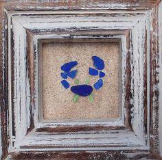 """Real Sea Beach Glass Art - Nautical Decor """"Blue Crab"""""""