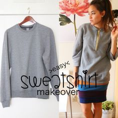 sweatshirt sewing makeover   Sweatshirt Makeover + How to Install a Zipper