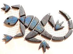 Mosaiksteine - Mosaic tiles - eidechse - lizard - Glittereffekt - klein/small -grau von MotivMosaics auf Etsy