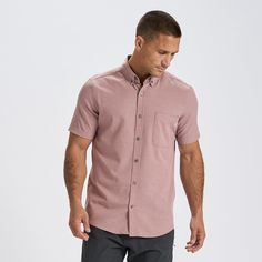 An easy segue from office to outdoors, the Bishop is a lightweight and extra-soft short-sleeved button-down shirt with four-way stretch for mobility. If you have to dress up, why not stay as comfortable as you can? Great for traveling and chilling. | Bishop Short-Sleeve Button-Down Shirt | Saltwater Red Button Downs, Button Down Shirt, Library Photo Shoot, Soft Shorts, Clothes For Sale, Men Clothes, New Wardrobe, Dress Up, Style Guides