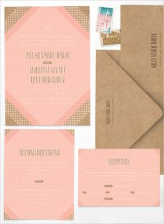 Pink wedding invites on kraft paper for a modern yet rustic feel. #wchappyhour Stationery: Anticipate Invitations ---> http://www.weddingchicks.com/2014/05/24/wedding-chicks-happy-hour-4/