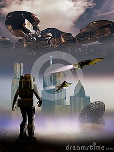 Astronaut contemplating a landscape with a futuristic city and spaceships, overflew by a gigantic spatial station.