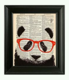 Smart PANDA Bear Wearing Glasses Art Print, Animal Illustration, Nursery Home Wall Decor, Black and White, Antique Book Page Dictionary Art is part of Hipster Sorority crafts - PatricianPrints etsy com © Patrician Prints Panda Craft, Newspaper Art, Friendship Symbols, Dictionary Art, Sorority Crafts, Recycled Art, Illustrations, Panda Bear, Art Lessons