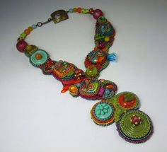 Bead Embroidery Necklace SOLD by QueenMarcyOriginals on Etsy. Love everything about this necklace! Curleytop1.