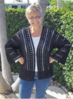 """Carol Wolf's """"Side to Side"""" Crochet Jacket - free pattern"""